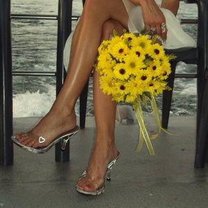 Glass slipper clear lucite kitten heels sz 6, 6.5
